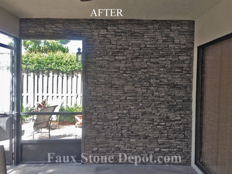 "24"" faux stone in Charcoal - Before"