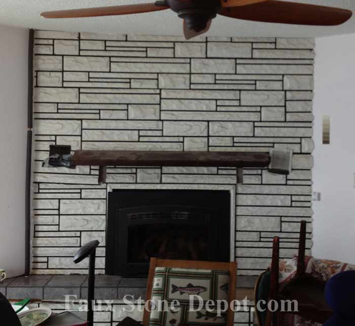 How To Remodel A Fireplace With Faux Stone Panels The Blog On Cheap Faux Stone Panels