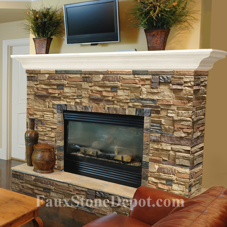 Stone fireplace the blog on cheap faux stone panels for Fireplace half stone