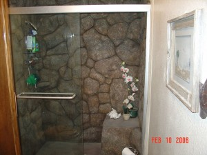 Shower with faux stone