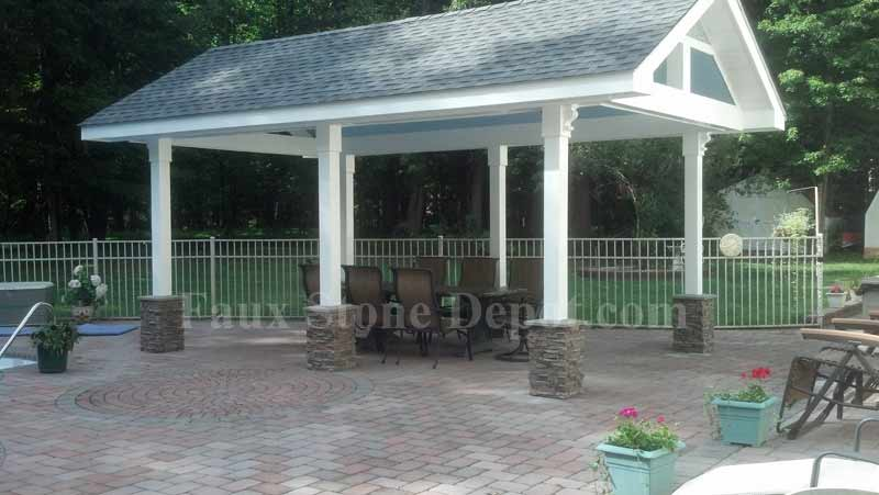 Great Example of faux stone column wraps