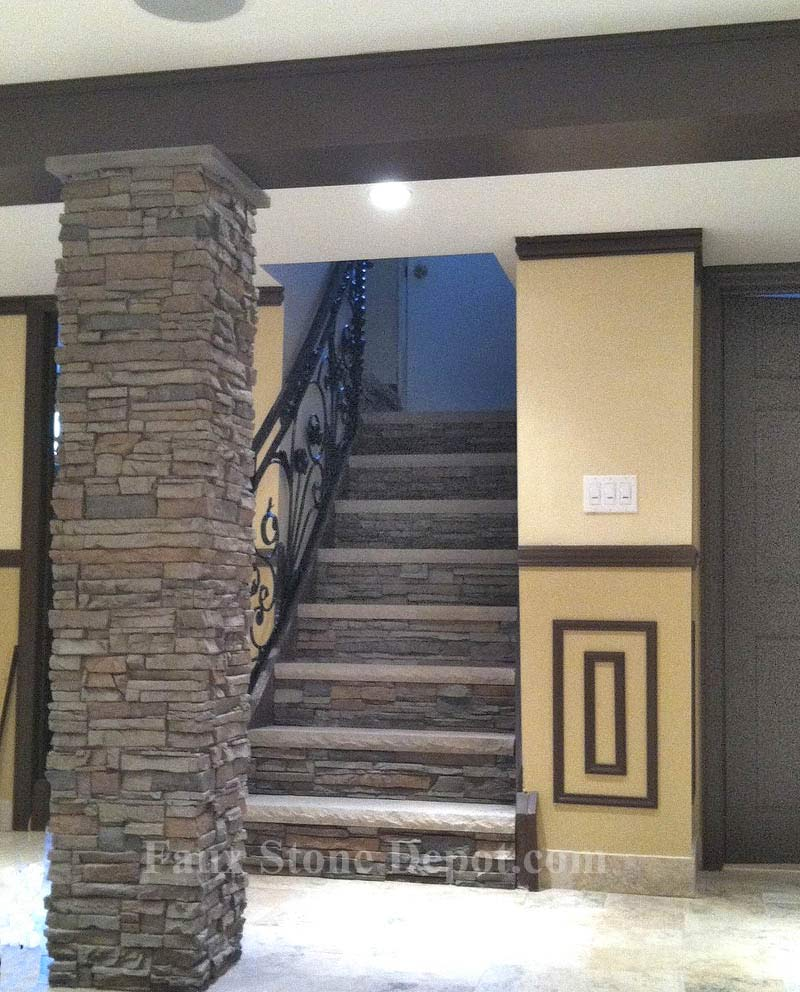 Porch pillars the blog on cheap faux stone panels for Cheap house wrap
