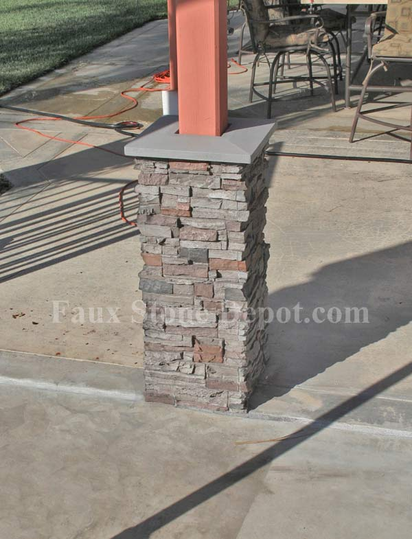 Post wraps the blog on cheap faux stone panels for Wrap around porch columns