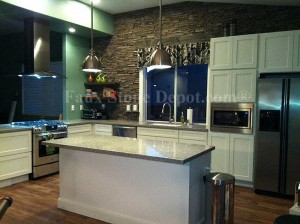 Grey Ledgestone Backsplash