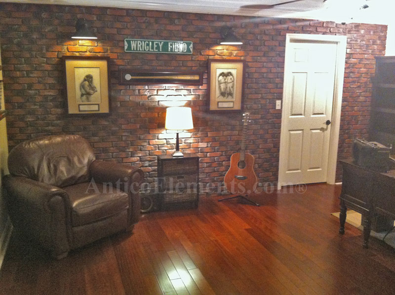 Installed Brick Panels In A Man Cave