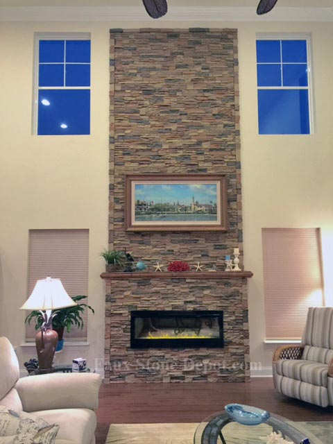Fireplace Created With Synthetic Stone Parts