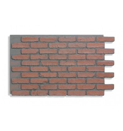 "28"" Faux Brick Panel - Red - Dark Grout"