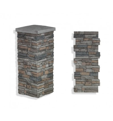 "Faux Stone Column Wrap 36"" - Grey"