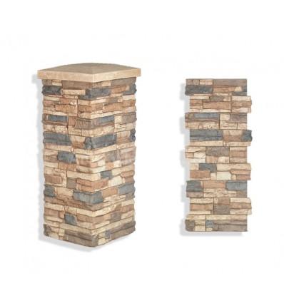 """Faux Stone Column Wrap 36"""" - Mocha"""