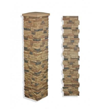 """15"""" Faux Stone Column - Cappuccino"""
