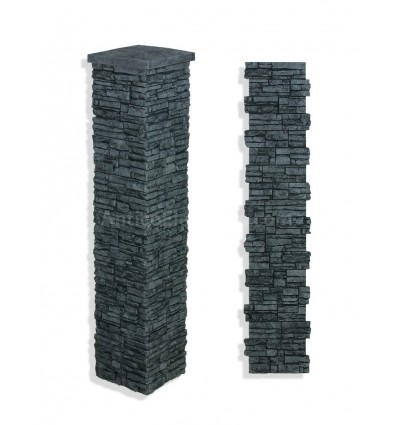 "Faux Stone Column Wrap 72"" - Charcoal"