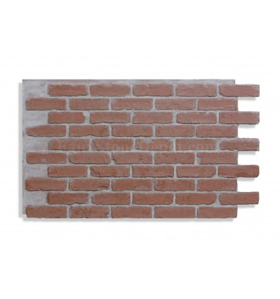 """28"""" Faux Brick Panel - Red - Light Grout - Front"""