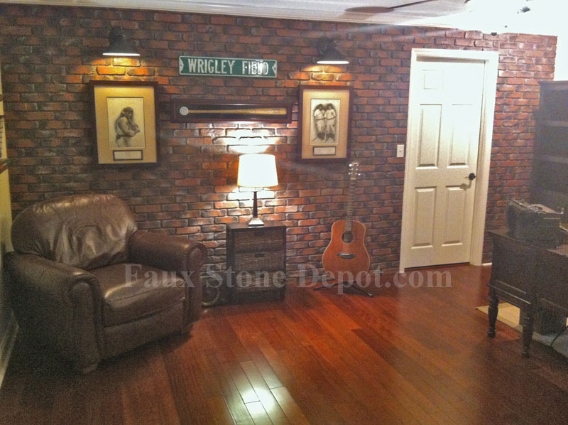 Installation of faux brick panels in a basement